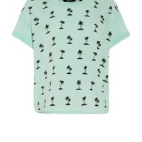 Mint Green Palm Tree Print T-Shirt