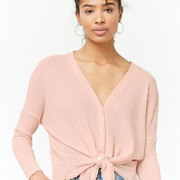 Button Front Sweater-Knit Top