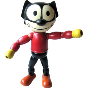 Rare Felix the Cat Rubber Head Wood Body 1940s By Cameo Doll Company / Vintage Doll / Collectible Doll