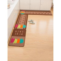 Random Spoon & Cup Print Kitchen Mat 1pc