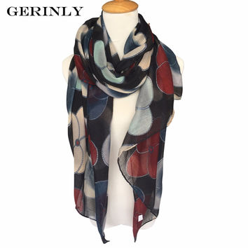GERINLY Scarf 180x90cm Women Scarves Print 4 Color Voile New Long Stoles Evening Primrose Flowers Wraps Shawl Bufandas Foulard