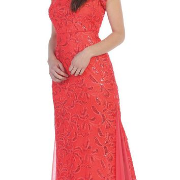 CLEARANCE - Coral Lace Godet Sequins Long Formal Dress Illusion Short Sleeve (Size 2XL)