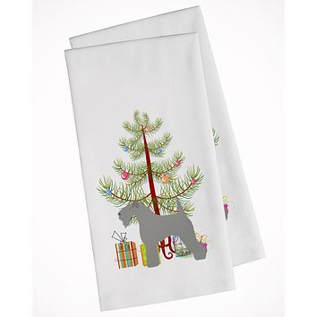 Kerry Blue Terrier Merry Christmas Tree White Kitchen Towel Set of 2 BB2910WTKT