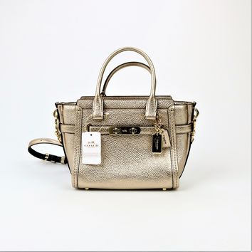 Coach Medium Leather Swagger 21 Carryall Satchel