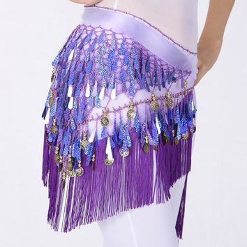 Belly Dancing Belt Colorful Waist Belly Dance Hip Scarf Belt Decor Coins Beads Sequins Fringed Triangle Skirt
