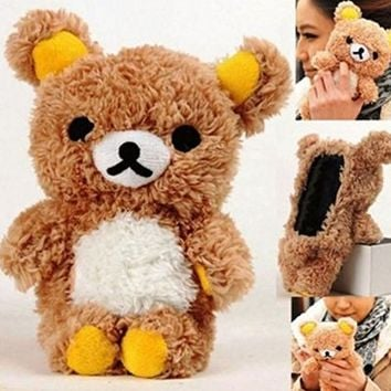 S6 Case,Fusicase Samsung Galaxy S6 case,Fusicase fashion style New Cute 3D Lovely Teddy Bear Doll Toy Cool Plush Fitted Back Phone case Cover for Samsung Galaxy S6 G920F(White)