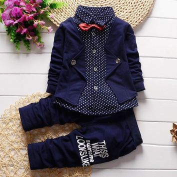 Infant Formal uniform suit 2017 Baby Boys Wedding Clothing Sets Newborn children Bow tie jacket + pants toddler clothes