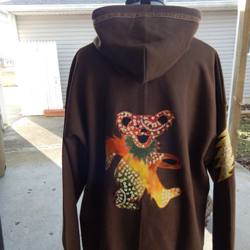 Upcycled Dark Brown Grateful Dead Dancing Bear Mens Full Zip Hoodie Size XLarge, OOAK Hoodie, Guys Hoodie,Zip Up Hoodie, Festival Clothes
