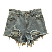 Exaggerative Holes High Waist Denim Shorts