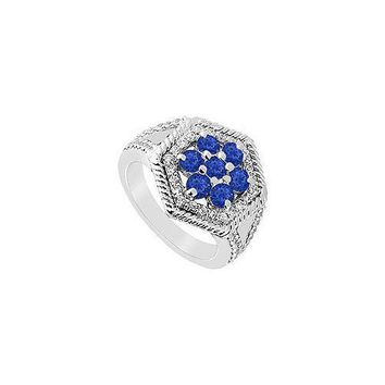 Sapphire and Diamond Flower Ring : 14K White Gold - 1.50 CT TGW