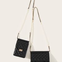 Quilted Faux Pearl Strap Bag Set 2pcs