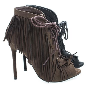 Beryl01 Peep Toe Fringe Lace Ankle Wrap Stiletto Heel Ankle Booties