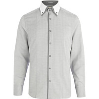 River Island MensGrey contrast panel double collar shirt
