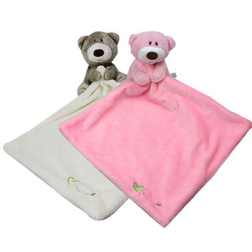 Square 30*30CM Kids super soft calm towel with Gray/Pink bear plush doll Baby hand towel As a toy doll Two colors Calm emotions