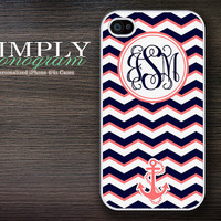 iphone 4 case - plastic or silicone rubber - nautical chevron monogram