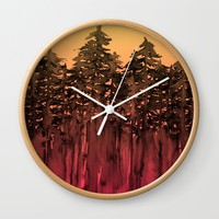 FOREST THROUGH THE TREES 12 Hot Pink Magenta Orange Black Landscape Ombre Abstract Painting Outdoors Wall Clock by EbiEmporium