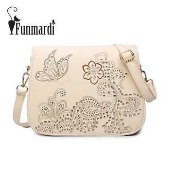 FUNMARDI Fashion Flowers and Butterfly Hollow Out Messenger Bag Women Bag Cross body Bag Saddle PU Leather School Bag WLHB1597