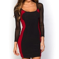 Danita Sexy Red and Black Mesh Sleeve Optical Illusion Dress