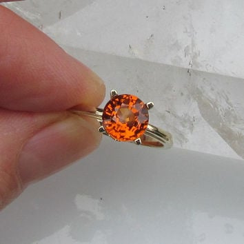 Amber Colored Spessartite Garnet 14k Yellow Gold or White Gold Scroll Design Solitaire Ring January Birthstone Gemstone Jewelry