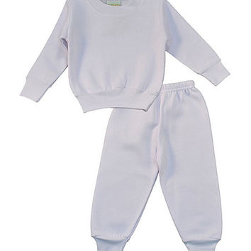 White Sweatshirt & Sweatpants Set - Infant | zulily