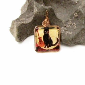 Halloween black Cat broom Glass Pendant Vintage photograph Handmade Jewelry Holiday Jewelry Day of the Dead