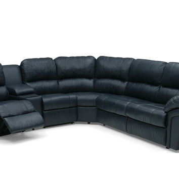 Large Recliner True Sectional Leather Sleeper Sofa with Console