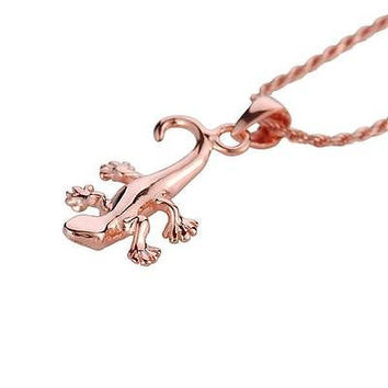 ROSE GOLD PLATED STERLING SILVER 925 HIGH POLISH SHINY HAWAIIAN GECKO PENDANT