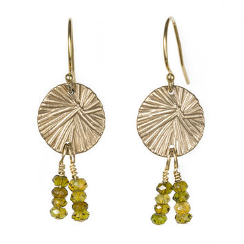 Miravos Jewelry - Small Medallion Earrings with Tourmaline