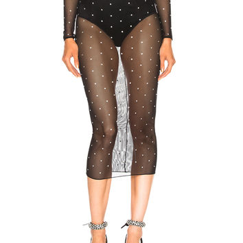 Alessandra Rich Mesh Skirt with Crystals in Black | FWRD