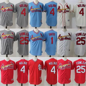 Cool Base St. Louis Cardinals Jerseys Mens 1 Ozzie Smith 4 Yadier Molina 25 Dexter Fowler Throwback Baseball Jerseys Cheap Mix Order