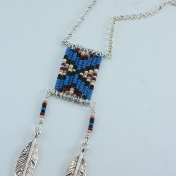 Native American Tribal Necklace Midnight Worrior Blue
