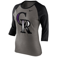 Nike Colorado Rockies Ladies Gradient Three-Quarter Length T-Shirt - Gray/Black