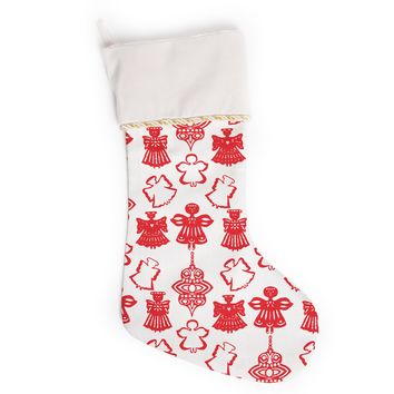 "Miranda Mol ""Angels Singing White"" Red Holiday Christmas Stocking"