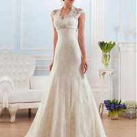 [219.99] Gorgeous Lace Queen Anne Neckline A-line Wedding Dresses With Beadings - dressilyme.com