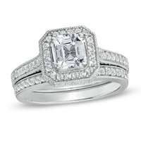 6.0mm Princess-Cut Lab-Created White Sapphire Fashion Ring in Sterling Silver - Size 7