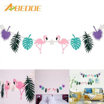 ABEDOE Flamingo Banner Summer Theme Party Garland Decoration for Tropical Hawaiian Festival Indoor Decoration