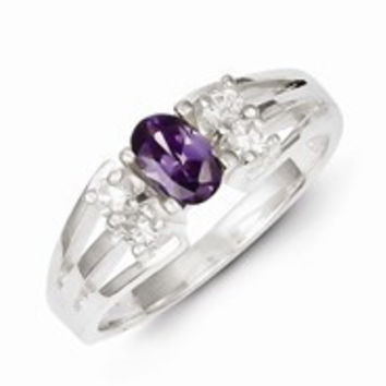 Sterling Silver Purple Oval CZ with CZ Stones Ring