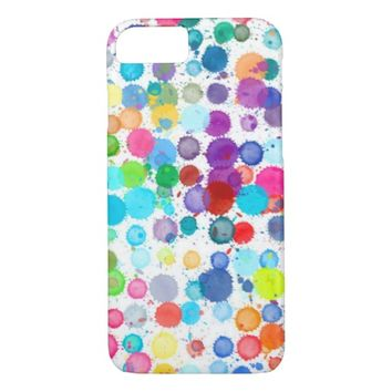colorful abstract art watercolor painted dots iPhone 7 case