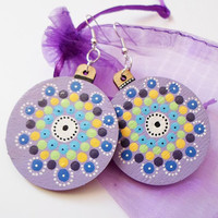 Lilac Lavender Earrings, Wooden Handpainted Earrings Jewelry, Mandala Dot art Earrings Jewelry, Boho Tribal earrings, Yoga Hippie Earrings
