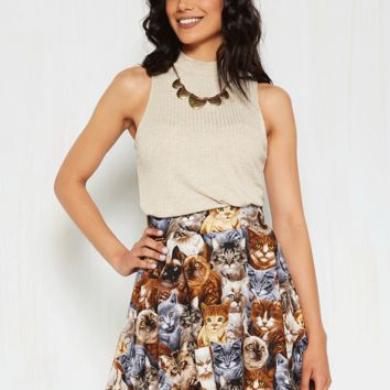 Playful Feeling Skater Skirt in Realistic Cats | Mod Retro Vintage Skirts | ModCloth.com