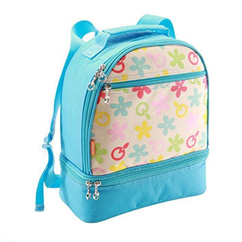 Kids School Insulated Lunch Bag / Toddler Backpack with Mug, Plate and Cutlery - Large Two Compartment for Lunch Box, Snacks and Knickknacks, Snacks and Knickknacks, Blue