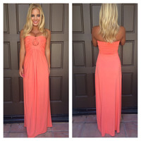 Slaya Strapless Maxi Dress by SKY - CORAL - U793RX