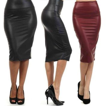 Gorgeous Leather Mid Calf Women Pencil Skirts