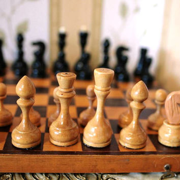 "Vintage Soviet Chess Set - Full Set Wooden Chess - Wood - 14 1/2"" inch wooden board - 1970s - from Russia / Soviet Union / USSR"