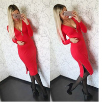 New Arrival Hot Fashion  Women Autumn Winter Plus Size Dress Casual Solid Straight Long Sleeve V-neck Zippers Dresses Q0036B