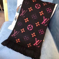Authentic Louis Vuitton LOGOMANIA Rainbow Scarf Black