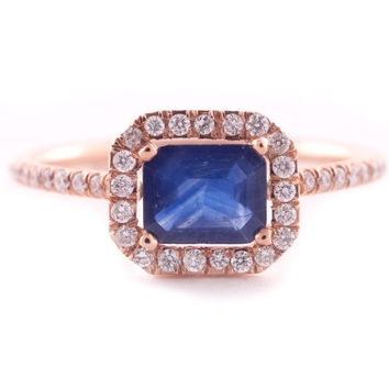Sapphire Ring, Blue Sapphire Ring, Micro Pave' Ring, Rectangular Sapphire, Emerald Cut, Rose God Ring, Engagement Ring, 14K Gold.