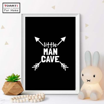 Little Man Cave Canvas Painting Scandinavian Prints Poster Nursery Arrow Wall Art Boy Room Art Canvas Painting Home Decor