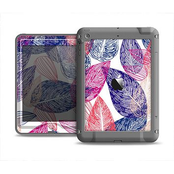 The Seamless Pink & Blue Color Leaves Apple iPad Mini LifeProof Nuud Case Skin Set