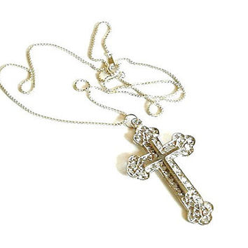 Vintage Silver Cross Necklace 925 Box Chain Large Pendant Goth Religious